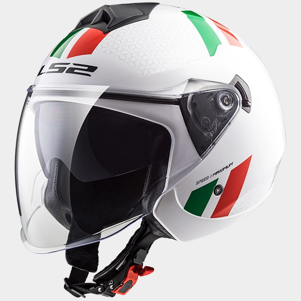 CASCO JET EN THERMOPLASTICO - LS2 - OF573 TWISTER COMBO WHITE/GREEN/RED