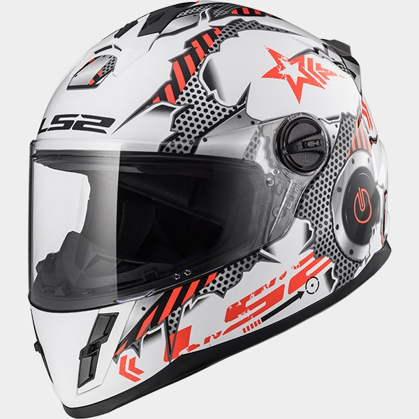 CASCO INTEGRAL DE THERMOPLASTICO - LS2 -FF392 KID / MACHINE WHITE RED