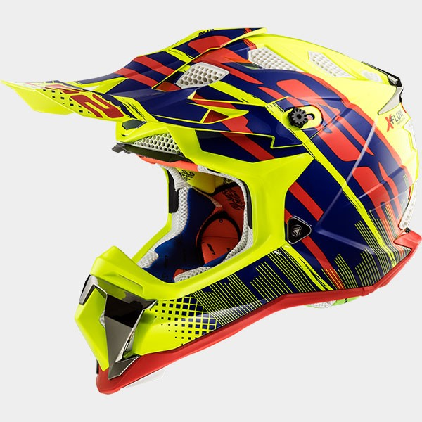 CASCO LS2 - POLICARBONO - MX470 SUBVERTER BOMBER H-V YELLOW BLUE RED