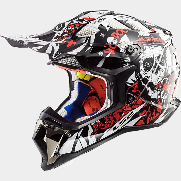 CASCO LS2 - POLICARBONO - MX470 SUBVERTER VOODOO BLACK WHITE RED